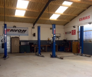 A view from inside Graig Gocg Garage workshop